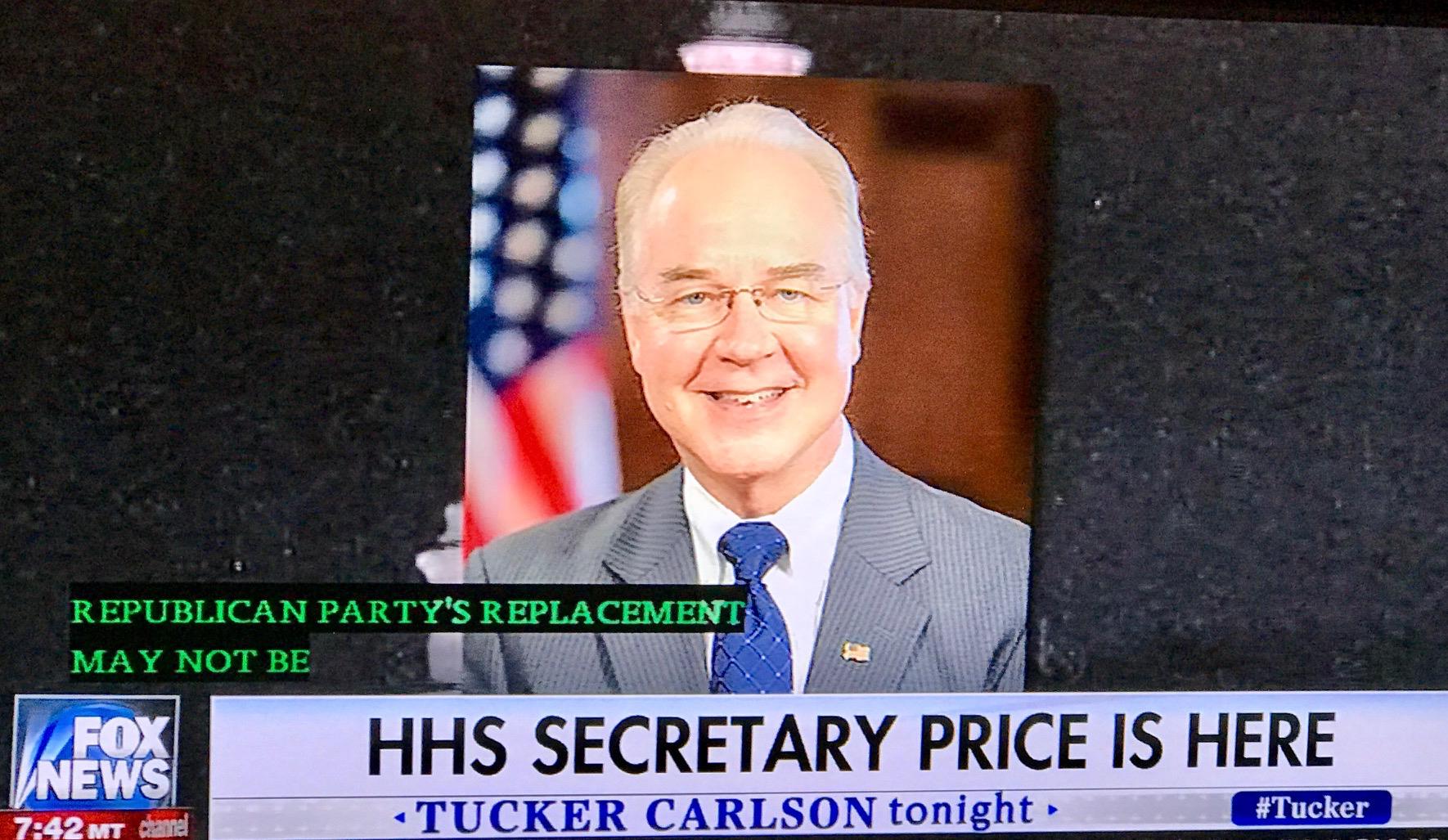 Tom Price, Secretary of HHS
